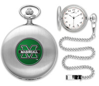 Marshall Thundering Herd  Silver Pocket Watch w/Chian