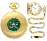 Marshall Thundering Herd  Gold Pocket Watch w/Chain