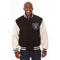 *Oakland Raiders Heavyweight Leather and Wool Jacket