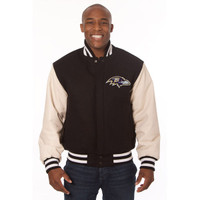*Baltimore Ravens Heavyweight Leather and Wool Jacket