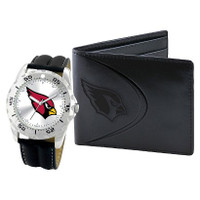 *Arizona Cardinals NFL Men's Leather Watch and Leather Wallet Gift Set