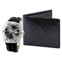 *Baltimore Ravens NFL Men's Leather Watch and Leather Wallet Gift Set