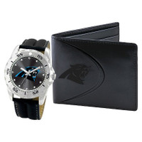 *Carolina Panthers NFL Men's Leather Watch and Leather Wallet Gift Set