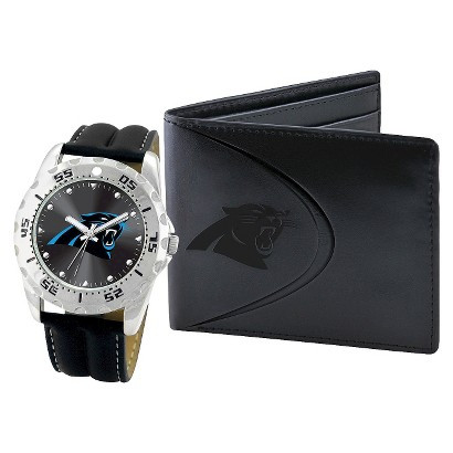 Carolina Panthers NFL Men's Leather Watch and Leather Wallet Gift Set