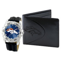 *Denver Broncos NFL Men's Leather Watch and Leather Wallet Gift Set
