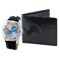 *Detroit Lions NFL Men's Leather Watch and Leather Wallet Gift Set