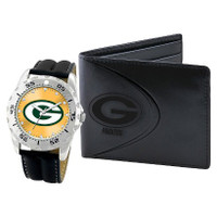 *Green Bay Packers NFL Men's Leather Watch and Leather Wallet Gift Set