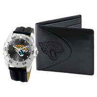 *Jacksonville Jaguars NFL Men's Leather Watch and Leather Wallet Gift Set