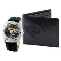 *Jacksonville Jaguars NFL Men's Leather Watch and Leather Wallet Gift Set