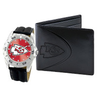 *Kansas City Chiefs NFL Men's Leather Watch and Leather Wallet Gift Set