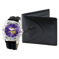 *Minnesota Vikings NFL Men's Leather Watch and Leather Wallet Gift Set