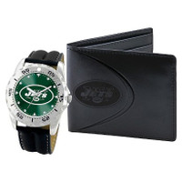 *New York Jets NFL Men's Leather Watch and Leather Wallet Gift Set