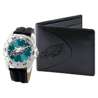 *Philadelphia Eagles NFL Men's Leather Watch and Leather Wallet Gift Set