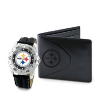 *Pittsburgh Steelers NFL Men's Leather Watch and Leather Wallet Gift Set
