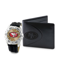 *San Francisco 49ers NFL Men's Leather Watch and Leather Wallet Gift Set