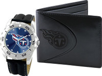*Tennessee Titans NFL Men's Leather Watch and Leather Wallet Gift Set
