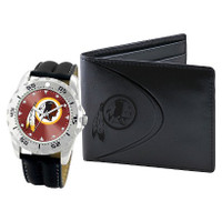 *Washington Redskins NFL Men's Leather Watch and Leather Wallet Gift Set