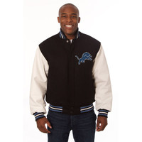 *Detroit Lions NFL Men's Heavyweight Wool and Leather Jacket