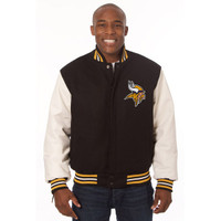 *Minnesota Vikings NFL Men's Heavyweight Wool and Leather Jacket