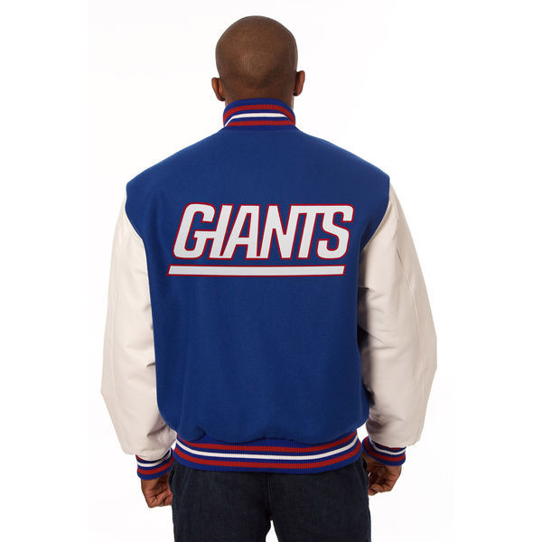 new style 4628d 7957b *New York Giants NFL Men's Heavyweight Wool and Leather Jacket