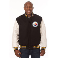*Pittsburgh Steelers NFL Men's Heavyweight Wool and Leather Jacket