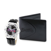 Atlanta Braves MLB Mens Leather Watch and Leather Wallet Gift Set