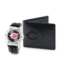 Cincinnati Reds MLB Mens Leather Watch and Leather Wallet Gift Set
