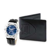 Detroit Tigers MLB Mens Leather Watch and Leather Wallet Gift Set