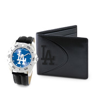 Los Angeles Dodgers MLB Mens Leather Watch and Leather Wallet Gift Set