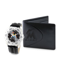 Miami Marlins MLB Mens Leather Watch and Leather Wallet Gift Set