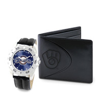 Milwaukee Brewers MLB Mens Leather Watch and Leather Wallet Gift Set
