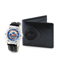 New York Mets MLB Mens Leather Watch and Leather Wallet Gift Set
