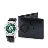 Oakland Athletics MLB Mens Leather Watch and Leather Wallet Gift Set