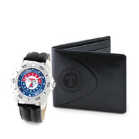 Texas Rangers MLB Mens Leather Watch and Leather Wallet Gift Set