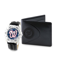 Washington Nationals MLB Mens Leather Watch and Leather Wallet Gift Set