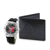 Arizona Diamondbacks MLB Mens Leather Watch and Leather Wallet Gift Set