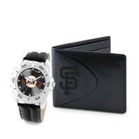 San Francisco Giants MLB Mens Leather Watch and Leather Wallet Gift Set