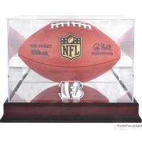*Cincinnati Bengals Mahogany Football Team Logo Display Case with Mirror Back
