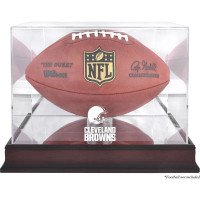 *Cleveland Browns Mahogany Football Team Logo Display Case with Mirror Back