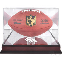 *Denver Broncos Mahogany Football Team Logo Display Case with Mirror Back