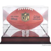 *Detroit Lions Mahogany Football Team Logo Display Case with Mirror Back