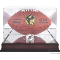 *Miami Dolphins Mahogany Football Team Logo Display Case with Mirror Back