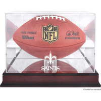 *New Orleans Saints Mahogany Football Team Logo Display Case with Mirror Back