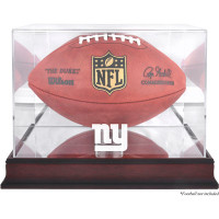 *New York Giants Mahogany Football Team Logo Display Case with Mirror Back