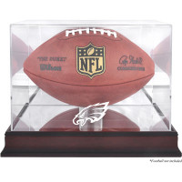 *Philadelphia Eagles Mahogany Football Team Logo Display Case with Mirror Back