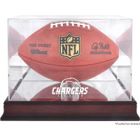 *San Diego Chargers Mahogany Football Team Logo Display Case with Mirror Back