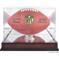 *Seattle Seahawks Mahogany Football Team Logo Display Case with Mirror Back