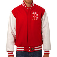 Boston Red Sox MLB Mens Heavyweight Wool and Leather Jacket