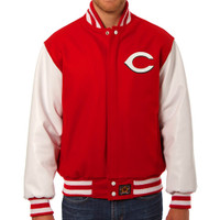 Cincinnati Reds MLB Mens Heavyweight Wool and Leather Jacket