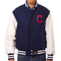 Cleveland Indians MLB Mens Heavyweight Wool and Leather Jacket
